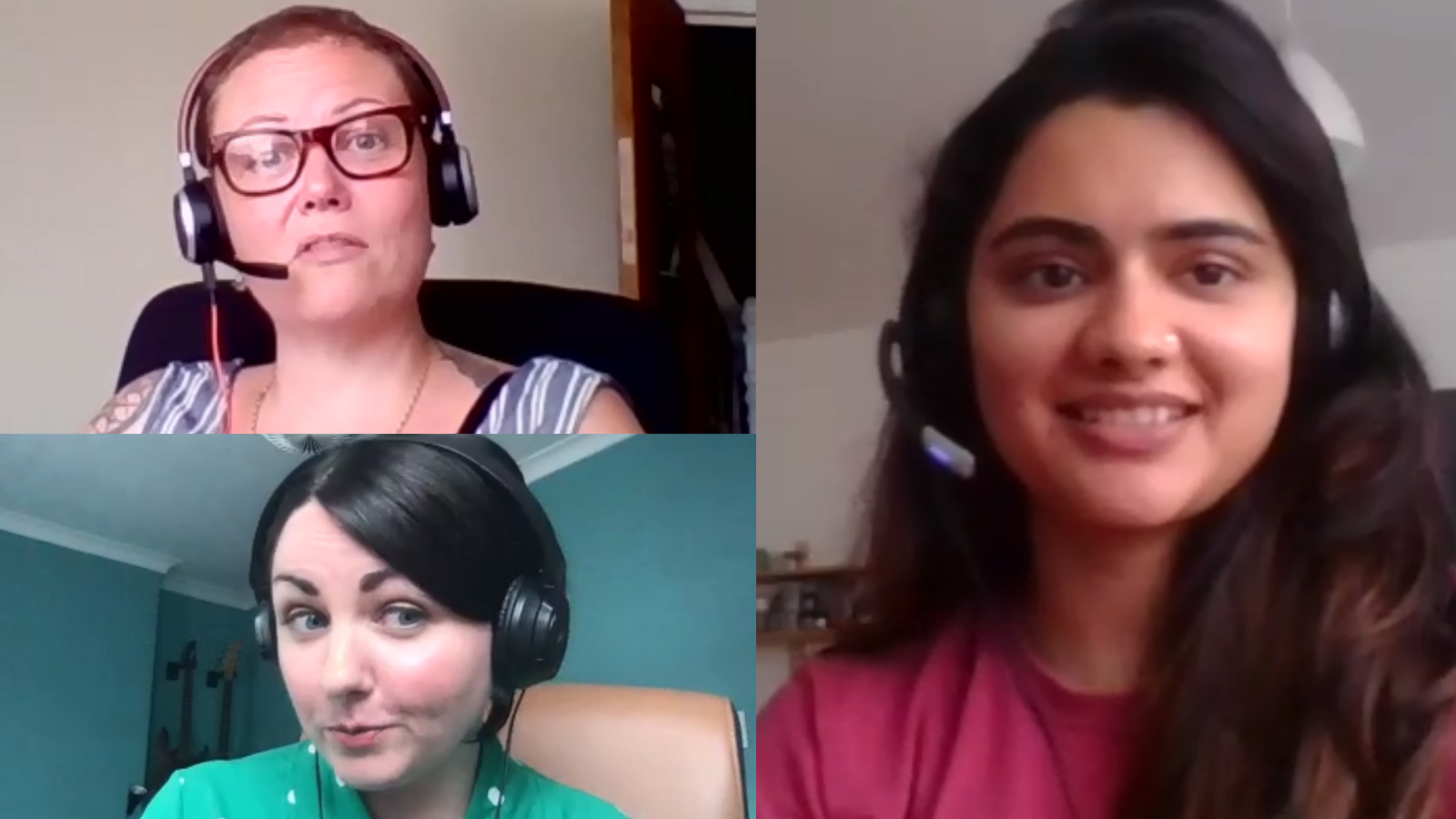 Podcast recording selfies from Claire Parry-Witchell, Kayleigh Mcleod & Prateeksha Pathak