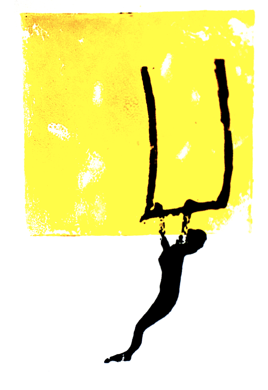 Doodle of person on a trapeze