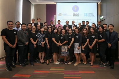 Sara Pepper with 25 participants working on innovation hubs from universities across Thailand