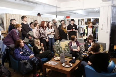 Attendees gathered at the first Creative Cardiff hubcrawl at the Sustainable Studio in 2017