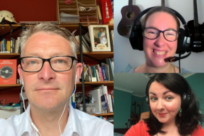 Professor Chris Speed, Kelly Barr and Kayleigh Mcleod headshots recording podcast from home