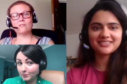 Podcast recording selfies from Claire Parry-Witchell, Kayleigh Mcleod and Prateeksha Pathak