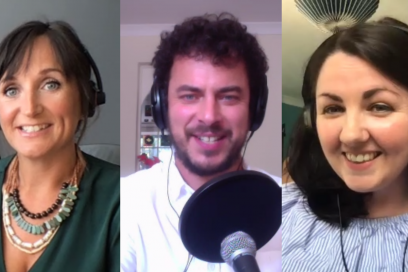 Kathryn Lewis, Alex Rees and Kayleigh Mcleod selfies from podcast recording