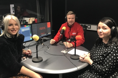 Kayleigh Mcleod in the studio with influencers Mark Tregilgis and Jess Davies