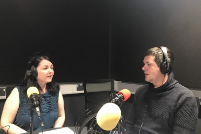 Kayleigh Mcleod in the studio with Steffan Evans