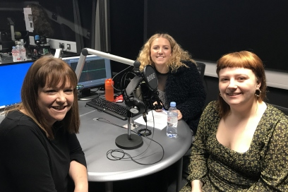 Bethan Elfyn, Beca Harries and Katie Hall in the studio