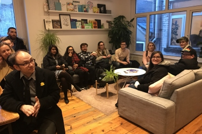 Students from Cardiff University, University of South Wales and Cardiff Metropolitan University sit at Rabble Studio to hear from founder Dan Spain